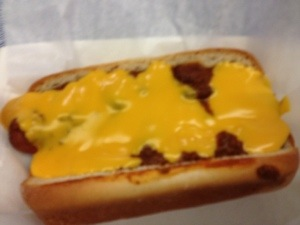 Gluten-free chili cheese hot dog