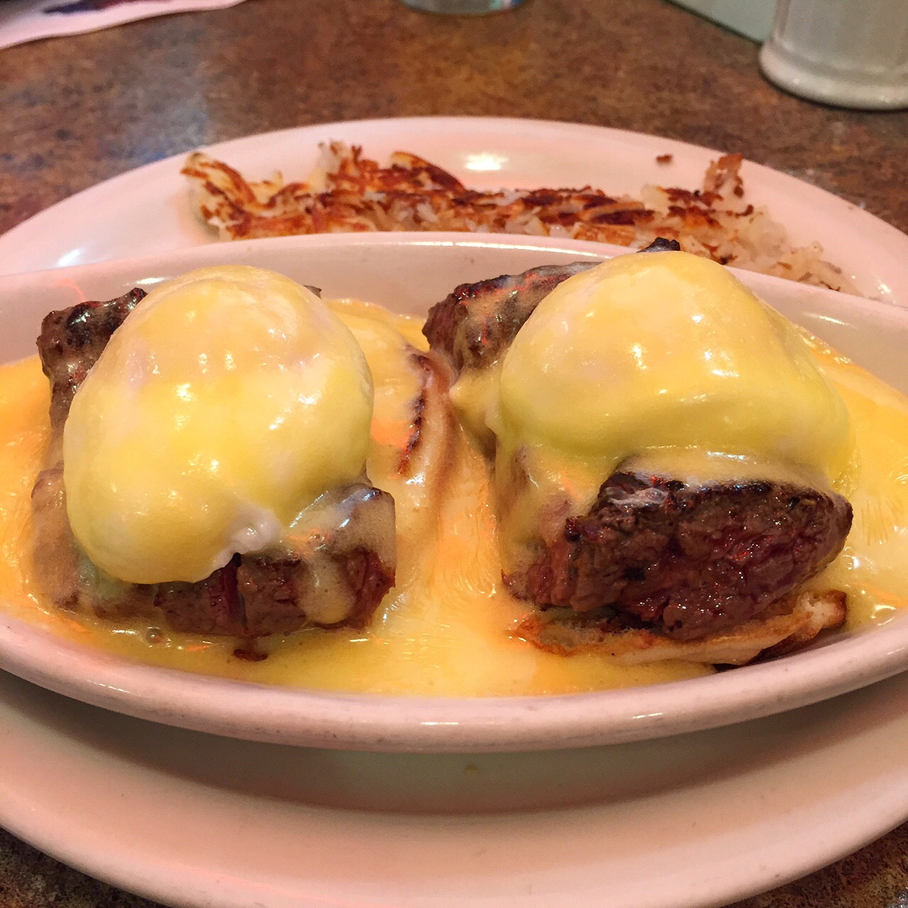 The steak eggs Benedict at the Delray Beach location