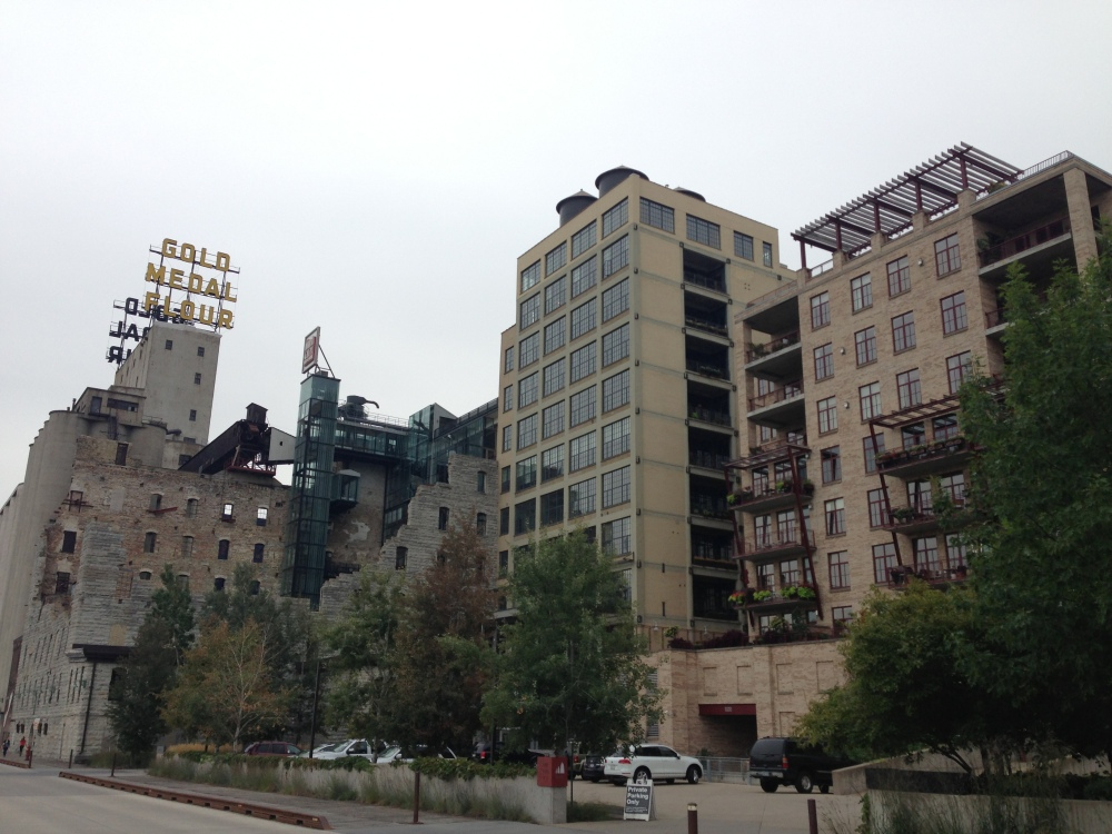 The contrast of new buildings with ruins