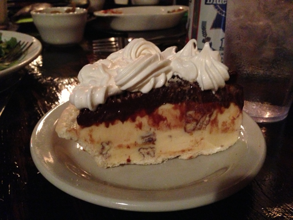 Some sort of pie... Mud Pie maybe? I'm spacing right now but I was able to scoop off the ice cream on top and it was delicious!