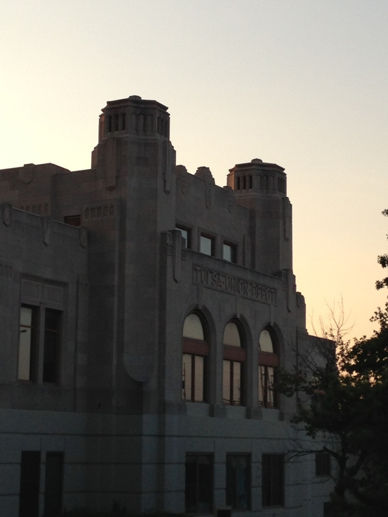 An old train station in the sunset