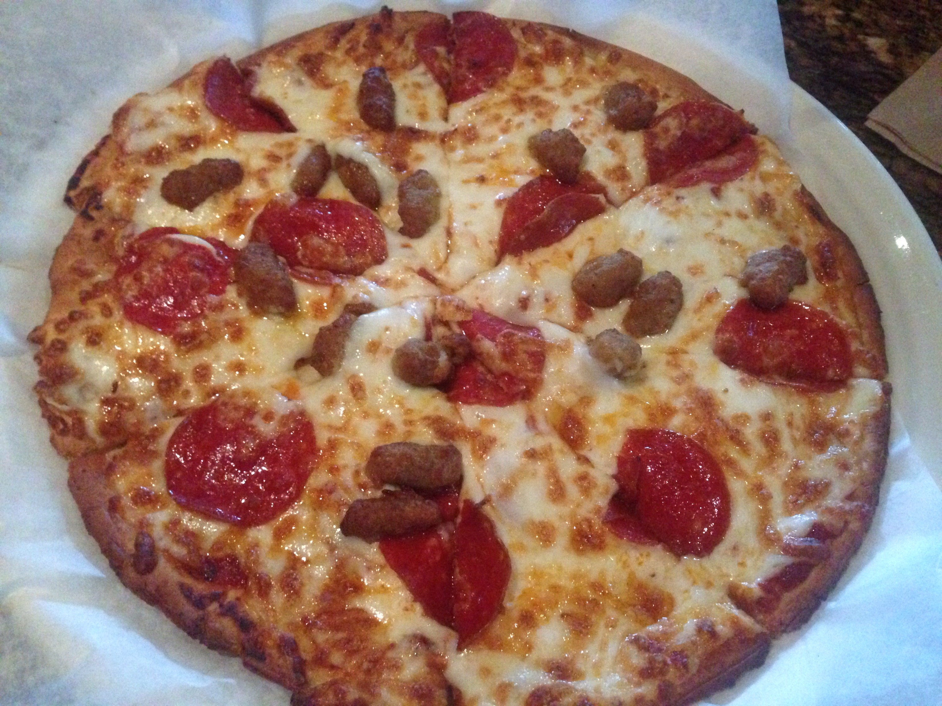 Gluten-free pepperoni and sausage pizza