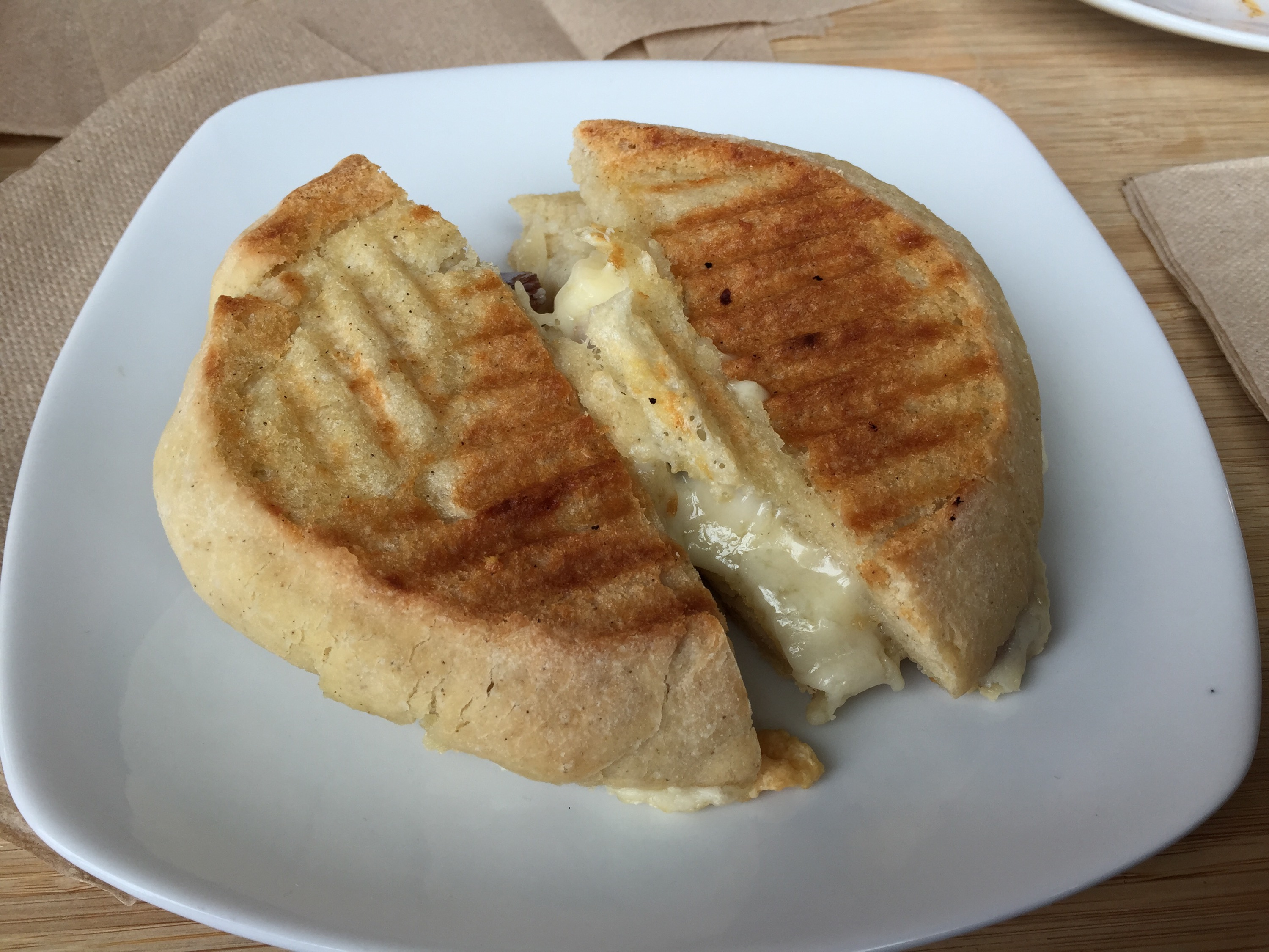 The panini with cheese and salami
