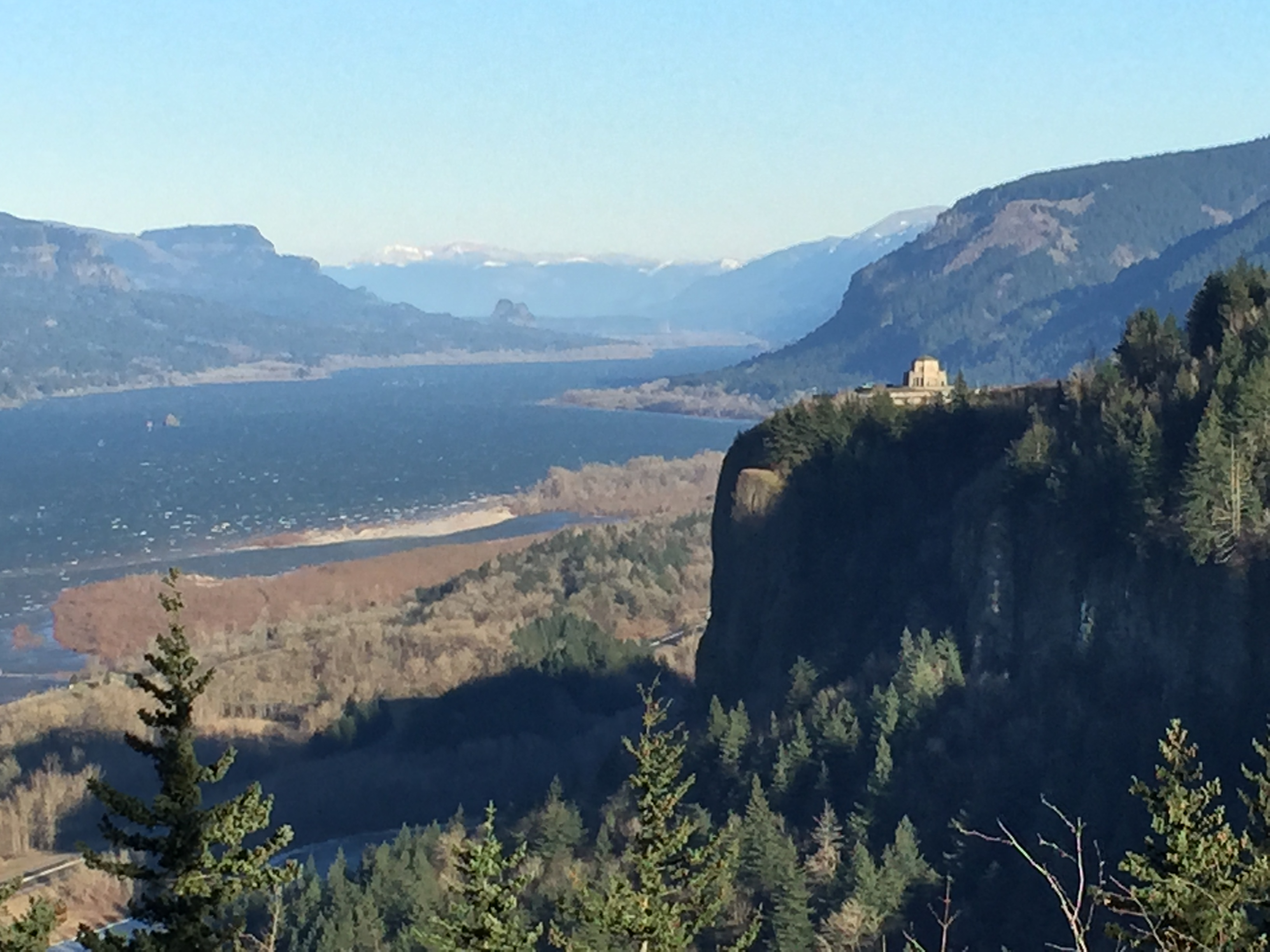 Zooming in on the Vista House overlooking the Columbia River Gorge